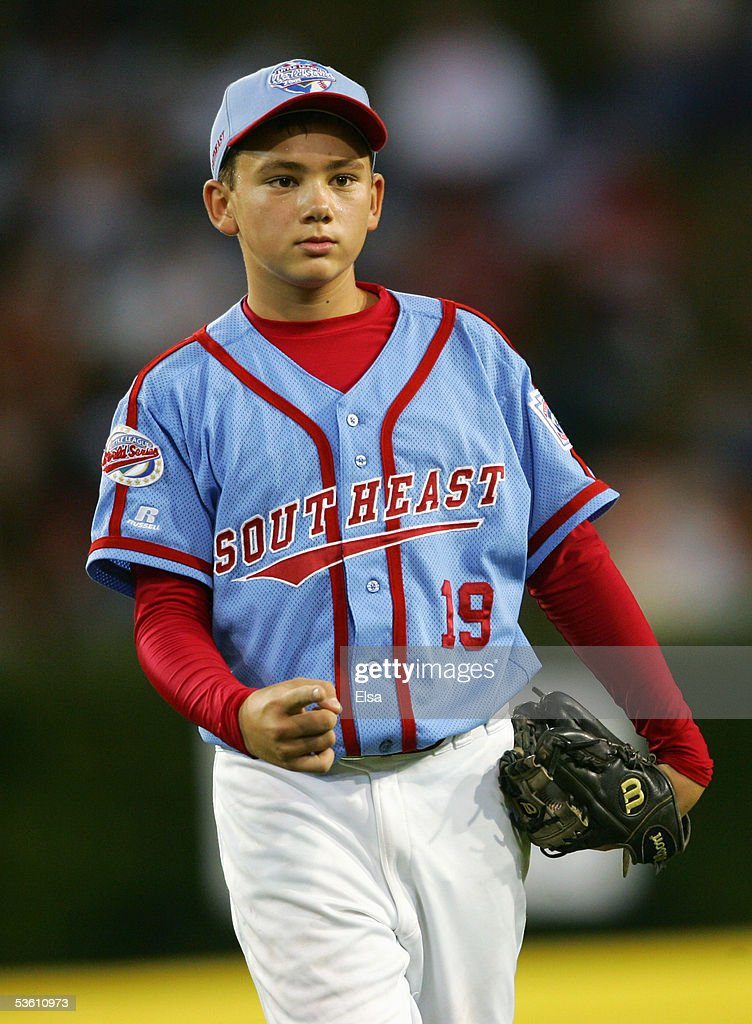 Pitcher Dante Bichette, Jr. #19 of the Southeast gestures during the United States Semifinal of the Little League World Series against the West on August 24, 2005 at Lamade Stadium in South Williamsport, Pennsylvania. The West team from Vista, California defeated the Southeast team from Maitland, Florida 6-2. (Photo by Elsa/Getty Images).