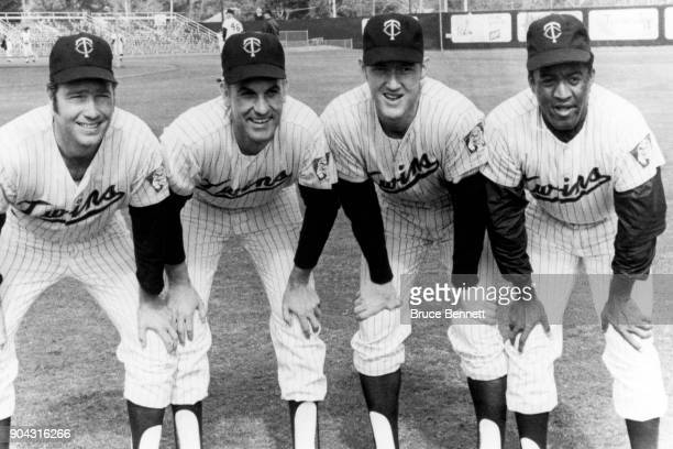 Pitcher Dave Boswell Jim Perry Jim Kaat and Luis Tiant of the Minnesota Twins pose for a portrait during Spring Training on February 26 1970 in...