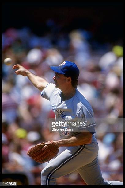 Pitcher Dave Stieb of the Toronto Blue Jays throws a pitch during a game against the California Angels circa 1990 at Angel Stadium in Anaheim...