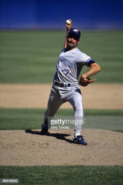 Pitcher Dave Stieb of the Toronto Blue Jays throws a pitch during a game in September, 1990 against the Cleveland Indians at Cleveland Municipal...