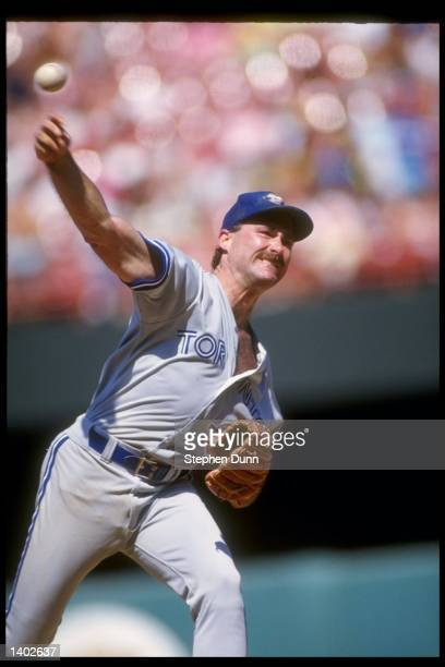 Pitcher Dave Stieb of the Toronto Blue Jays throws a pitch during an MLB game against the California Angels circa 1990 at Anaheim Stadium in Anaheim...