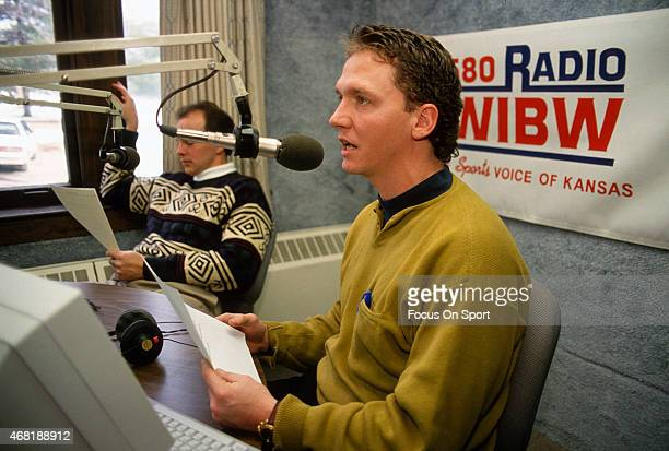 Pitcher David Cone of the Kansas City Royals talks on a radio show circa 1993 Cone played for the Royals from 199394