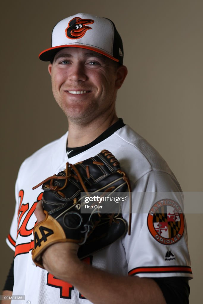 Pitcher David Hess #41 of the Baltimore Orioles poses for a photo during photo days at Ed Smith Stadium on February 20, 2018 in Sarasota, FL.