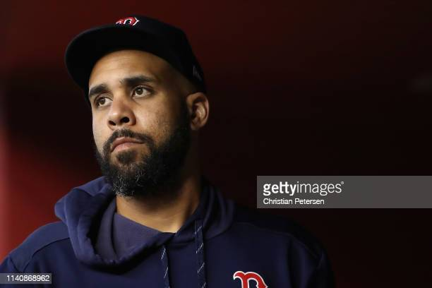 Pitcher David Price of the Boston Red Sox in the dugout during the MLB game against the Arizona Diamondbacks at Chase Field on April 05, 2019 in...