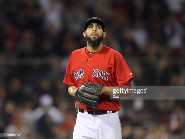 Pitcher David Price of the Boston Red Sox looks on after giving up a solo home run to Aaron Judge of the New York Yankees in the first inning of Game...