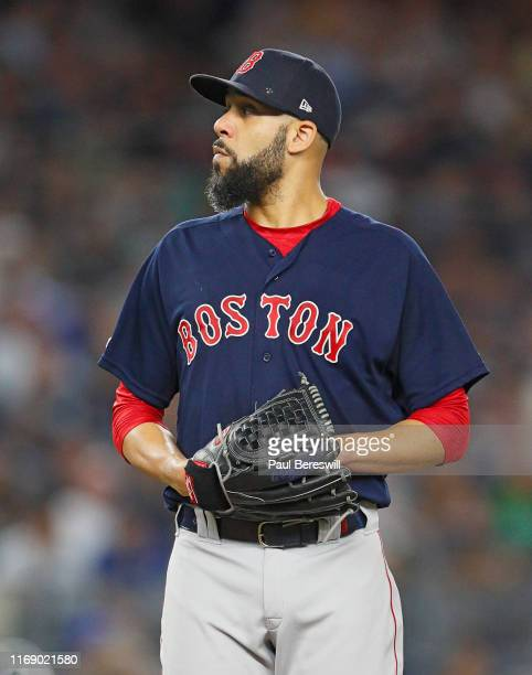 Pitcher David Price of the Boston Red Sox looks toward the mound in an MLB baseball game against the New York Yankees on August 4, 2019 at Yankee...