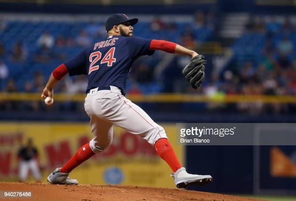 Pitcher David Price of the Boston Red Sox pitches during the first inning of a game against the Tampa Bay Rays on March 30 2018 at Tropicana Field in...