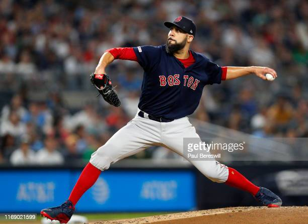 Pitcher David Price of the Boston Red Sox pitches in an MLB baseball game against the New York Yankees on August 4, 2019 at Yankee Stadium in the...
