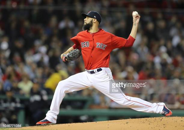 Pitcher David Price of the Boston Red Sox pitches in the first inning of Game Two of the American League Division Series against the New York Yankees...