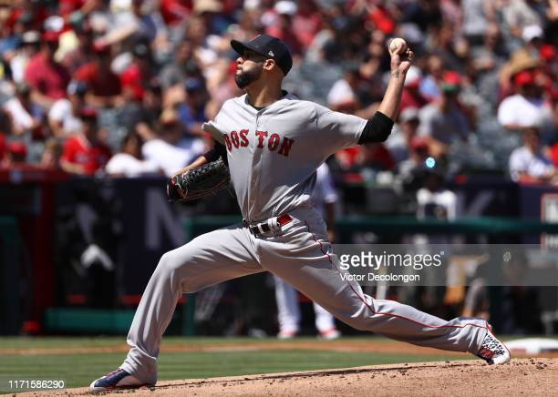 Pitcher David Price of the Boston Red Sox pitches in the first inning during the MLB game against the Los Angeles Angels at Angel Stadium of Anaheim...