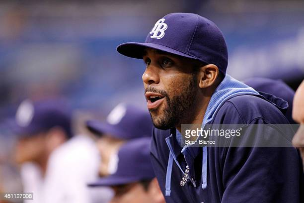 Pitcher David Price of the Tampa Bay Rays looks on from the dugout during the eighth inning of a game against the Pittsburgh Pirates on June 23 2014...