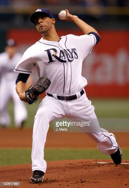 Pitcher David Price of the Tampa Bay Rays pitches against the Boston Red Sox during the game at Tropicana Field on July 7 2010 in St Petersburg...