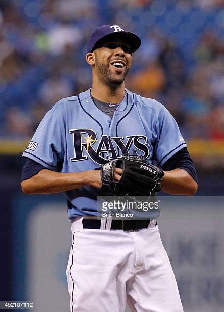 Pitcher David Price of the Tampa Bay Rays smiles on the mound during the eighth inning of a game against the Toronto Blue Jays on July 13, 2014 at...