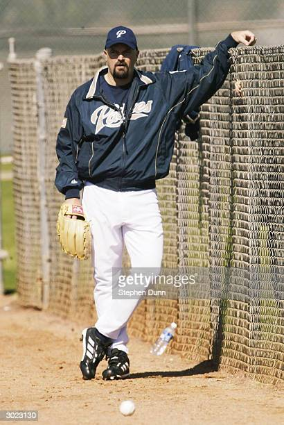Pitcher David Wells of the San Diego Padres looks on during practice on February 28 2004 at Peoria Sports Complex in Peoria Arizona