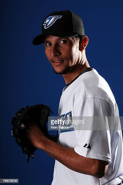 Pitcher Davis Romero of the Toronto Blue Jays poses for a photo on media day during spring training at the Bobboy Mattix Traing Center February 22...