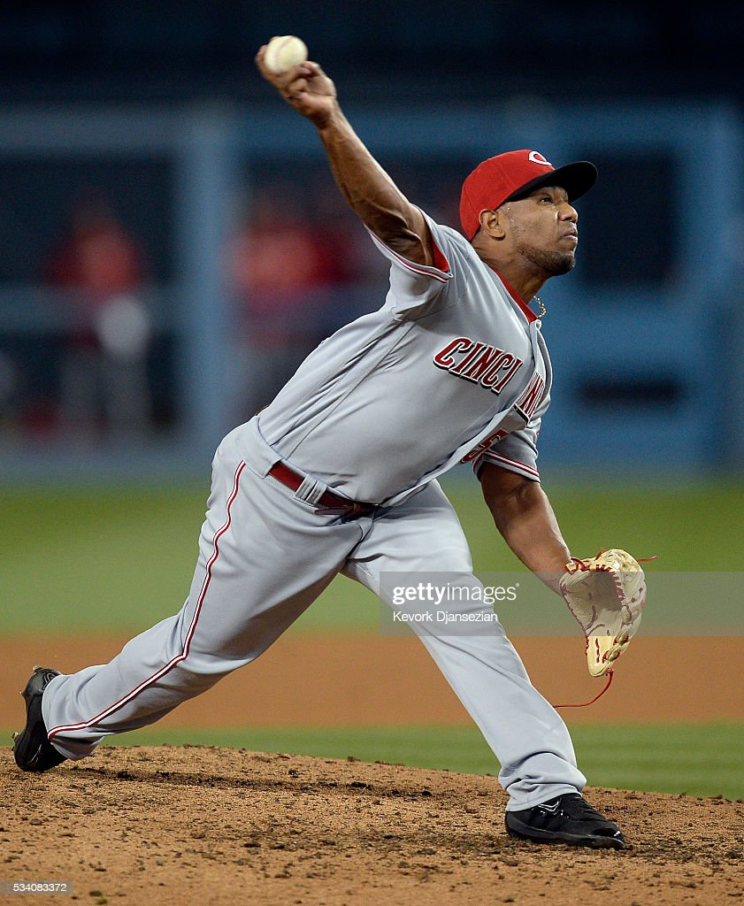 Pitcher Dayan Diaz #50 of the Cincinnati Reds throws against the Los Angeles Dodgers during the sixth inning of the baseball game at Dodger Stadium May 24, 2016, in Los Angeles, California.
