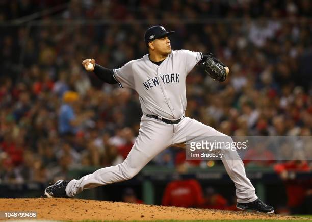 Pitcher Dellin Betances of the New York Yankees pitches during the sixth inning of Game Two of the American League Division Series against the Boston...