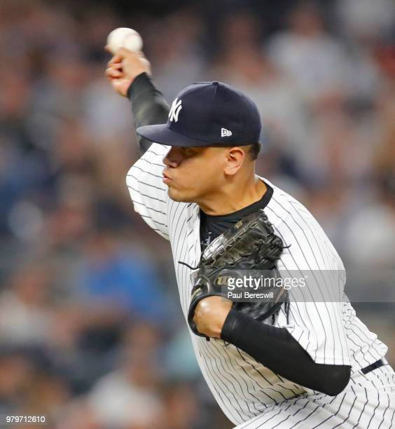 Pitcher Dellin Betances of the New York Yankees pitches in relief during an MLB baseball game against the Tampa Bay Rays on June 14 2018 at Yankee...