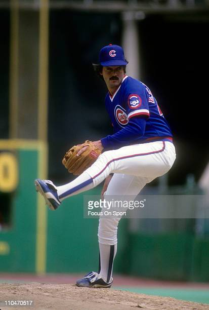 Pitcher Dennis Eckersley of the Chicago Cubs pitches against the Philadelphia Phillies during a Major League Baseball game circa 1985 at Veterans...