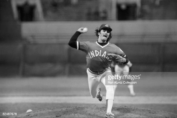 Pitcher Dennis Eckersley of the Cleveland Indians delivers a pitch during a game against the Milwaukee Brewers on May 10 1977 at Municipal Stadium in...