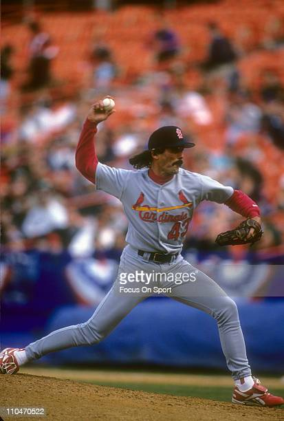 Pitcher Dennis Eckersley of the St Louis Cardinals pitches during a Major League Baseball game circa 1996 Eckersley played for the Cardinals from...