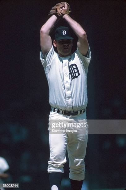 Pitcher Denny McLain of the Detroit Tigers winds up during a game in 1968 at Tiger Stadium in Detroit, Michigan.