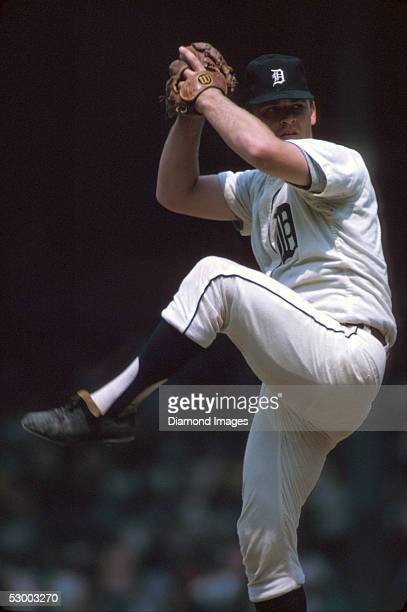Pitcher Denny McLain of the Detroit Tigers, winds up to deliver a pitch during a game in 1968 at Tiger Stadium in Detroit, Michigan.