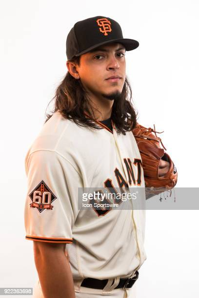 Pitcher Dereck Rodriguez poses for a photo during the San Francisco Giants photo day on Tuesday Feb 20 2018 at Scottsdale Stadium in Scottsdale Ariz