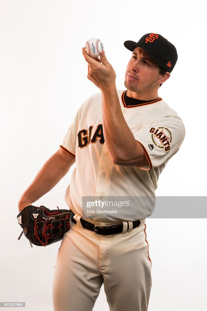 Pitcher Derek Holland (45) poses for a photo during the San Francisco Giants photo day on Tuesday, Feb. 20, 2018 at Scottsdale Stadium in Scottsdale, Ariz.