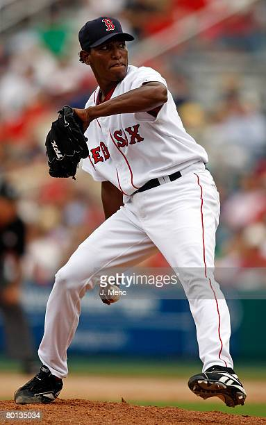 Pitcher Devern Hansack of the Boston Red Sox makes a pitch against the Cincinnati Reds during the game on March 5 2008 at City of Palms Park in Ft...
