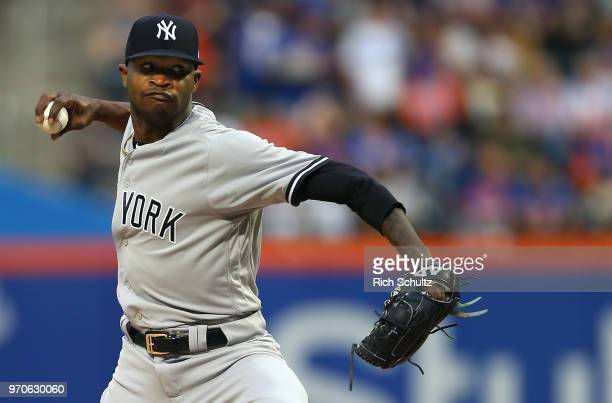 Pitcher Domingo German of the New York Yankees delivers a pitch against the New York Mets during the second inning of a game at Citi Field on June 9...