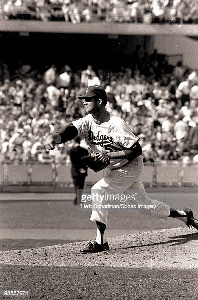 Pitcher Don Drysdale of the Los Angeles Dodgers pitches to the Minnesota Twins during the 1965 World Series on October 10 1965 at Dodger Stadium in...