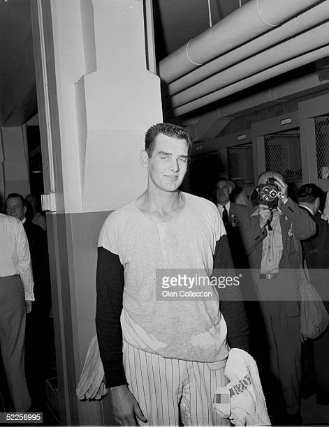 Pitcher Don Larsen of the New York Yankees in the clubhouse at Yankee Stadium after pitching the first perfect game on October 8 1956 in World Series...