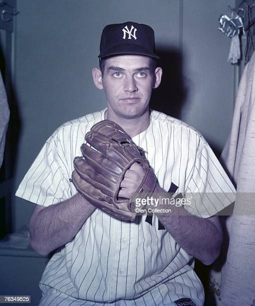 Pitcher Don Larsen of the New York Yankees poses in front of his locker for a color portrait on October 11 1956 at Yankee Stadium in New York New...