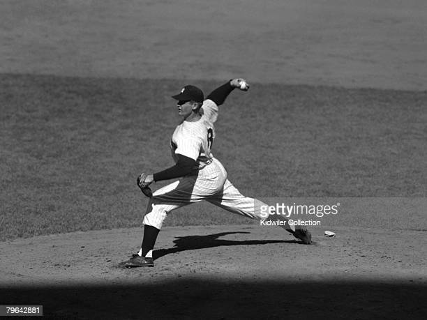 Pitcher Don Larsen of the New York Yankees throws a pitch during game 5 of the World Series on October 8 1956 against the Brooklyn Dodgers at Yankee...