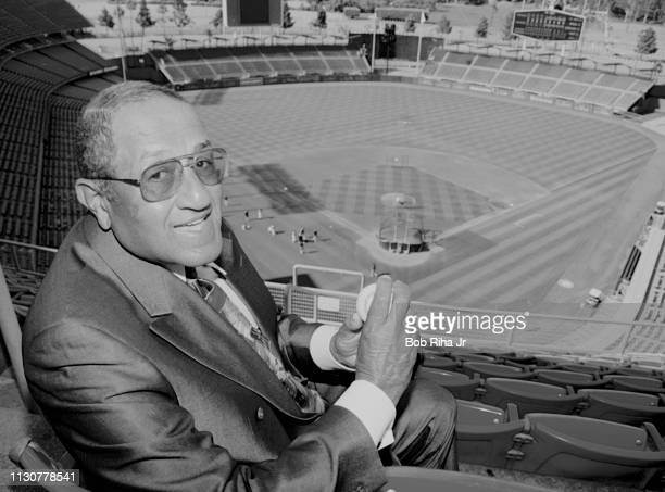 Pitcher Don Newcombe poses for a portrait at Dodger Stadium on July 9 1999 in Los Angeles California