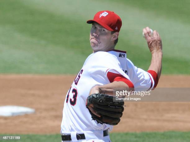 Pitcher Doug Fister of the Washington Nationals throws a pitch during a rehabilitation minore league start for the Potomac Nationals and a Carolina...