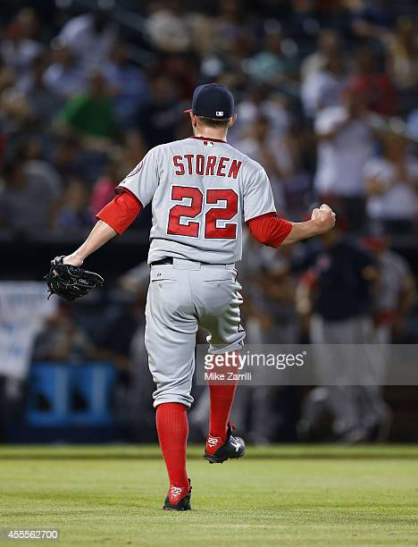 Pitcher Drew Storen of the Washington Nationals celebrates after the last out of the division clinching game against the Atlanta Braves at Turner...
