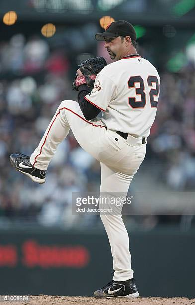 Pitcher Dustin Hermanson of the San Francisco Giants on the mound during the game against the Los Angeles Dodgers at SBC Park on June 22, 2004 in San...