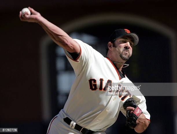 Pitcher Dustin Hermanson of the San Francisco Giants pitches against the Arizona Diamondbacks in ninth inning and recorded the save on September 4...