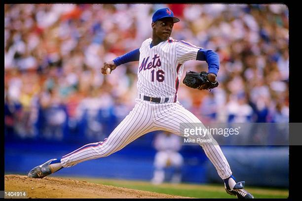 Pitcher Dwight Gooden of the New York Mets in action during a game at Shea Stadium in Flushing New York