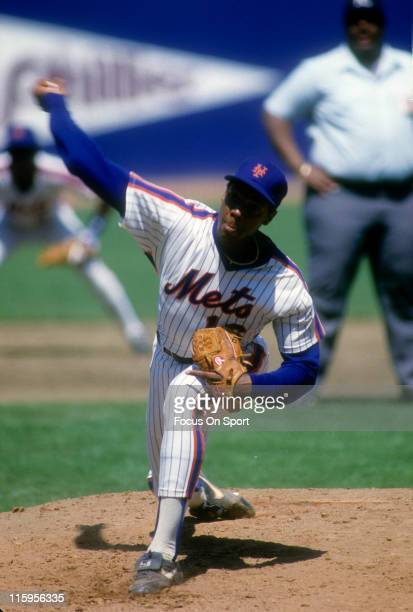 Pitcher Dwight Gooden of the New York Mets pitches during a Major League Baseball game circa 1990 at Shea Stadium in the Queens borough of New York...