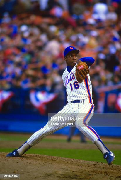 Pitcher Dwight Gooden of the New York Mets pitches during an Major League Baseball game circa 1986 at Shea Stadium in the Queens borough of New York...