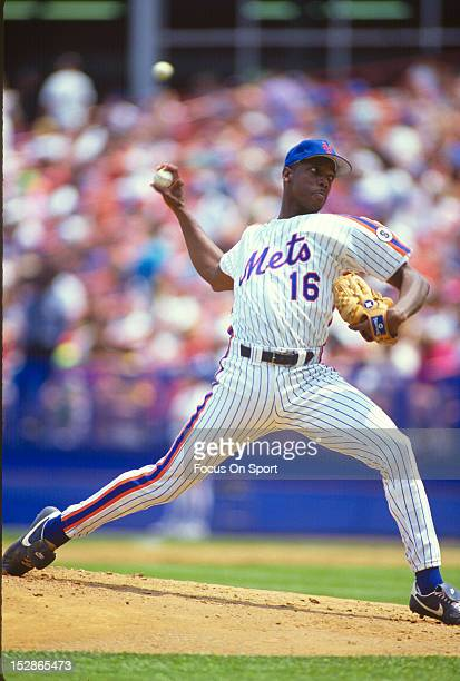 Pitcher Dwight Gooden of the New York Mets pitches during an Major League Baseball game circa 1989 at Shea Stadium in the Queens borough of New York...