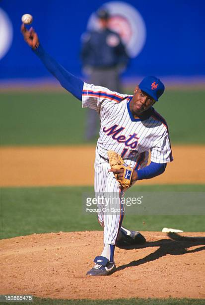Pitcher Dwight Gooden of the New York Mets pitches during an Major League Baseball game circa 1988 at Shea Stadium in the Queens borough of New York...