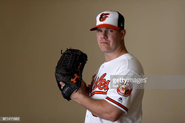 Pitcher Dylan Bundy of the Baltimore Orioles poses for a photo during photo days at Ed Smith Stadium on February 20 2018 in Sarasota FL