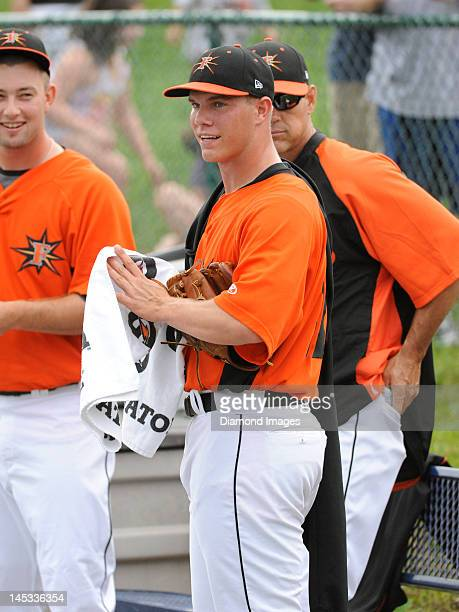 Pitcher Dylan Bundy of the Frederick Keys prepares to warm up in the bullpen prior to a Carolina League game on May 26 2012 against the Salem Red Sox...