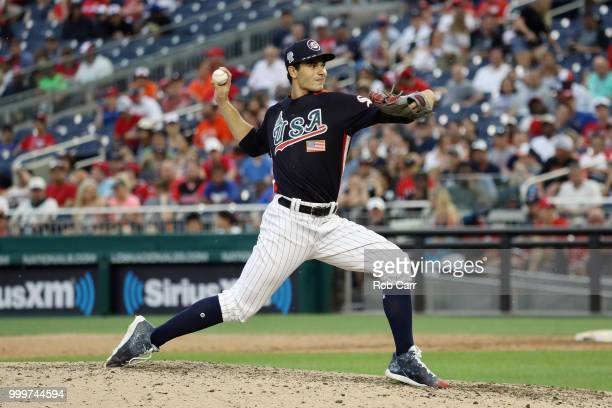 Pitcher Dylan Cease of the Chicago White Sox and the US Team works the ninth inning against the World Team during the SiriusXM AllStar Futures Game...