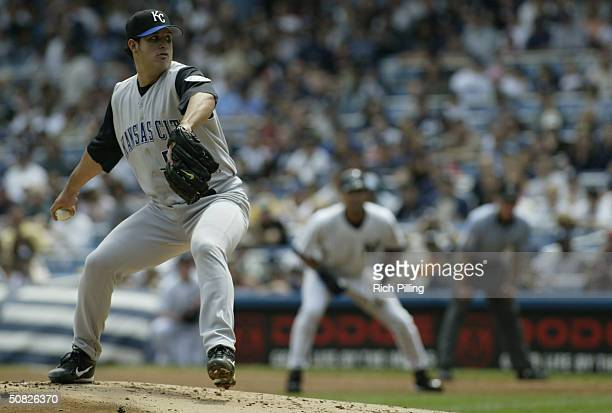 Pitcher Eduardo Villacis of the Kansas City Royals on the mound during the game against the New York Yankees at Yankee Stadium on May 1, 2004 in the...