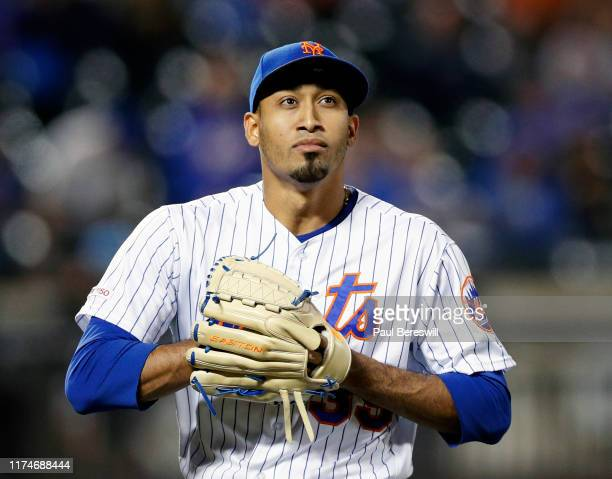 Pitcher Edwin Diaz of the New York Mets reacts in an MLB baseball game against the Philadelphia Phillies on September 6, 2019 at Citi Field in the...